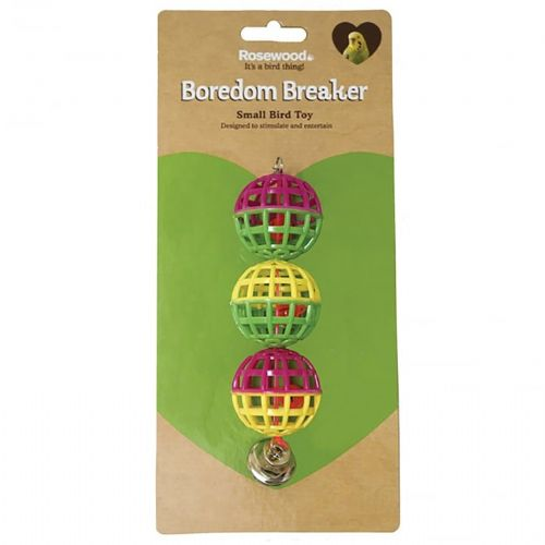 Rosewood 3 Lattice Balls with Bell Small Bird Toy